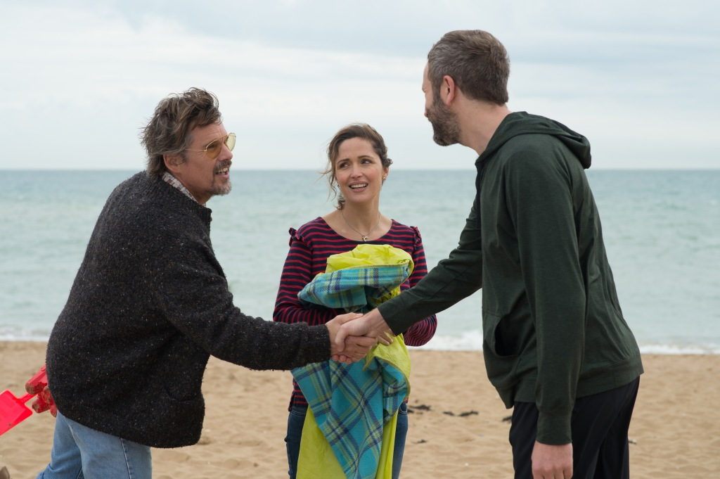 Ethan Hawke, Rose Byrne, and Chris O'Dowd appear in <i>Juliet, Naked</i> at the 2018 Sundance Film Festival.