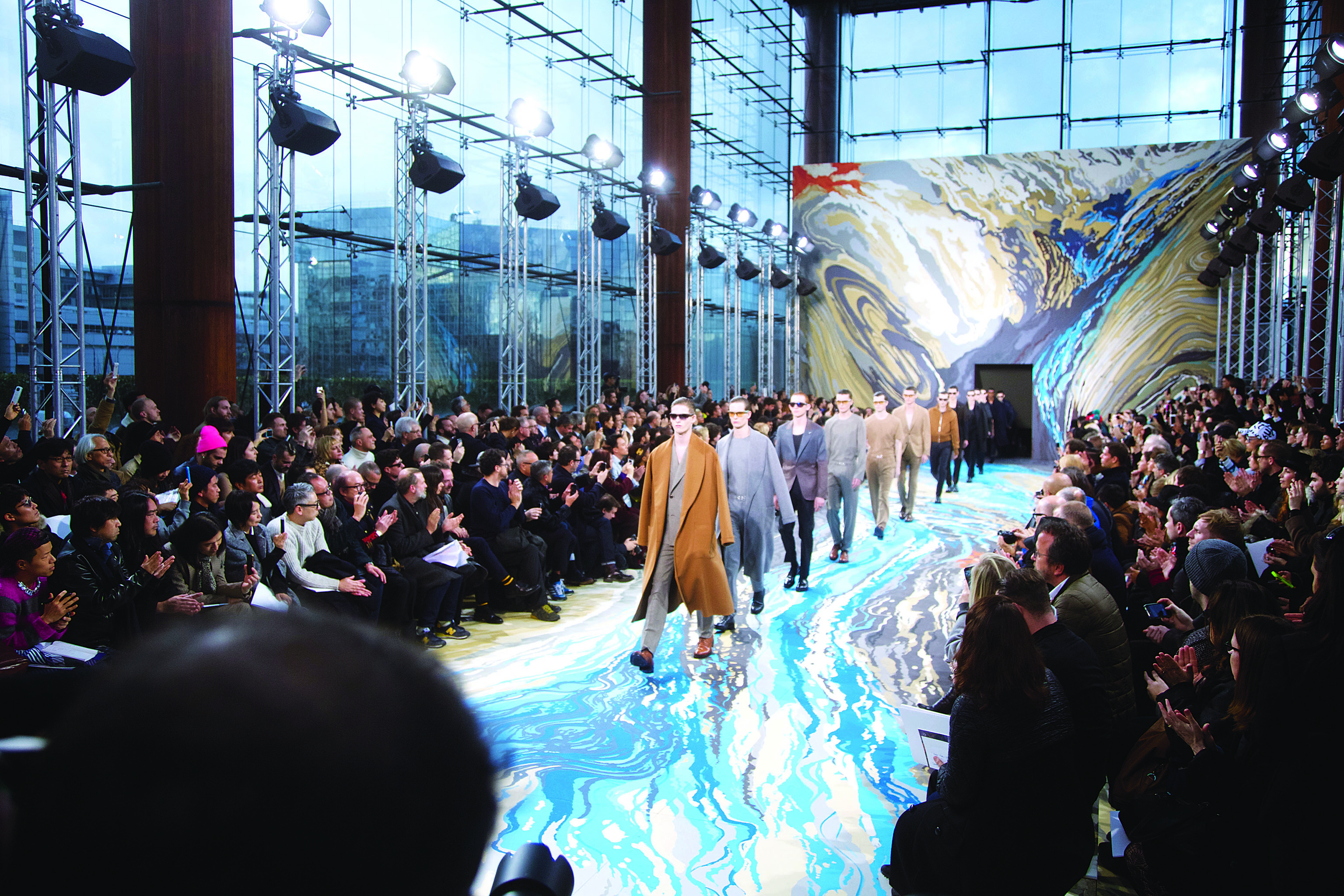 Models on the runway at Louis Vuitton's Fall 2014 menswear show.