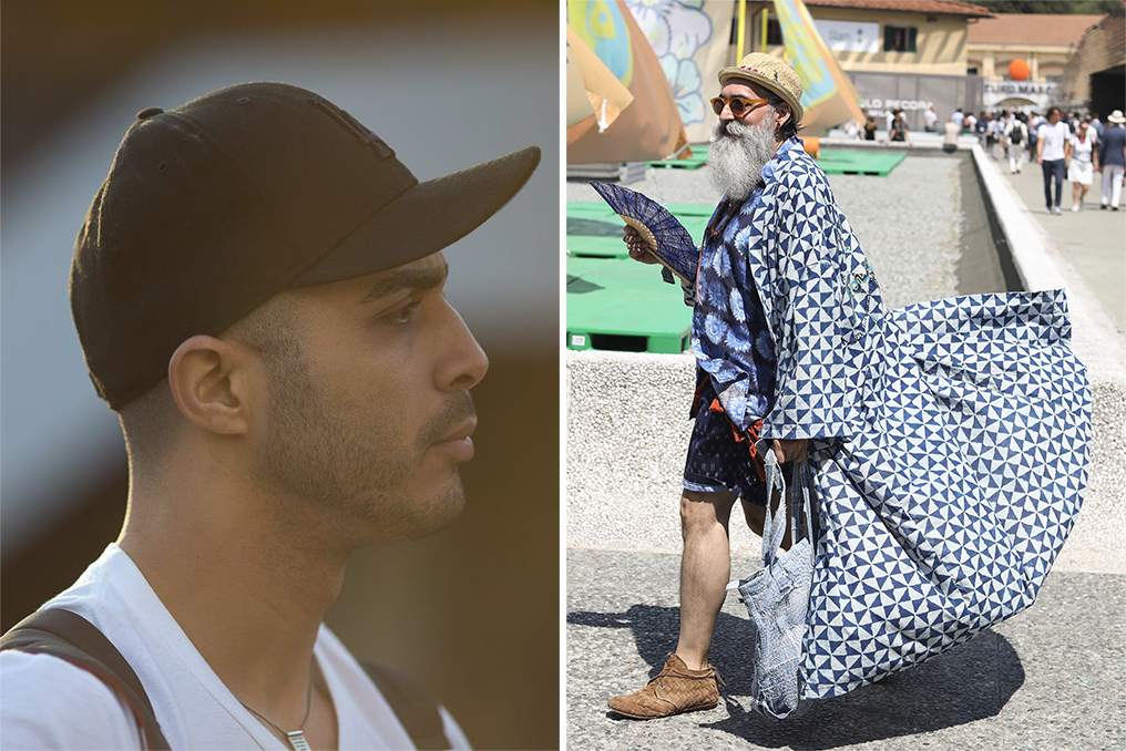 Left: Lee Oliveira, Right: A street style look by Lee Oliveira.