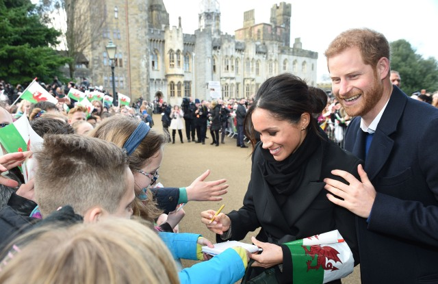 Prince Harry and Meghan Markle (in Stella McCartney) at Cardiff Castle
