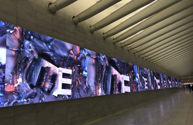 A Marilyn Minter video is a main attraction for visitors to the Westfield World Trade Center.