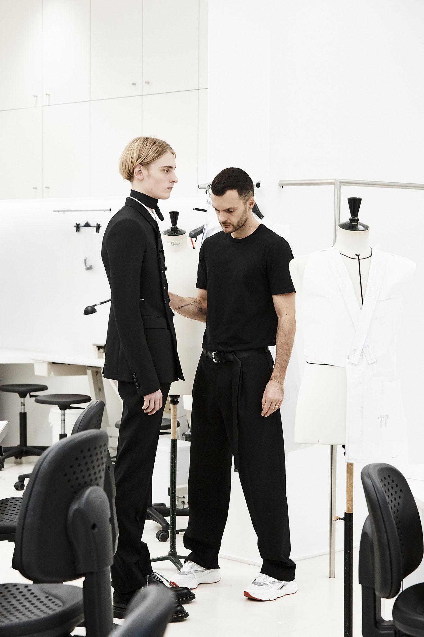 Kris Van Assche gets studious in the Dior Homme studio.