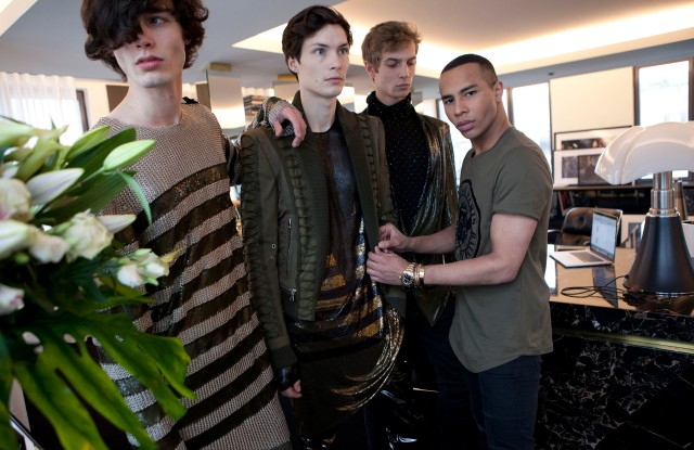Olivier Rousteing and the model gang at Balmain.