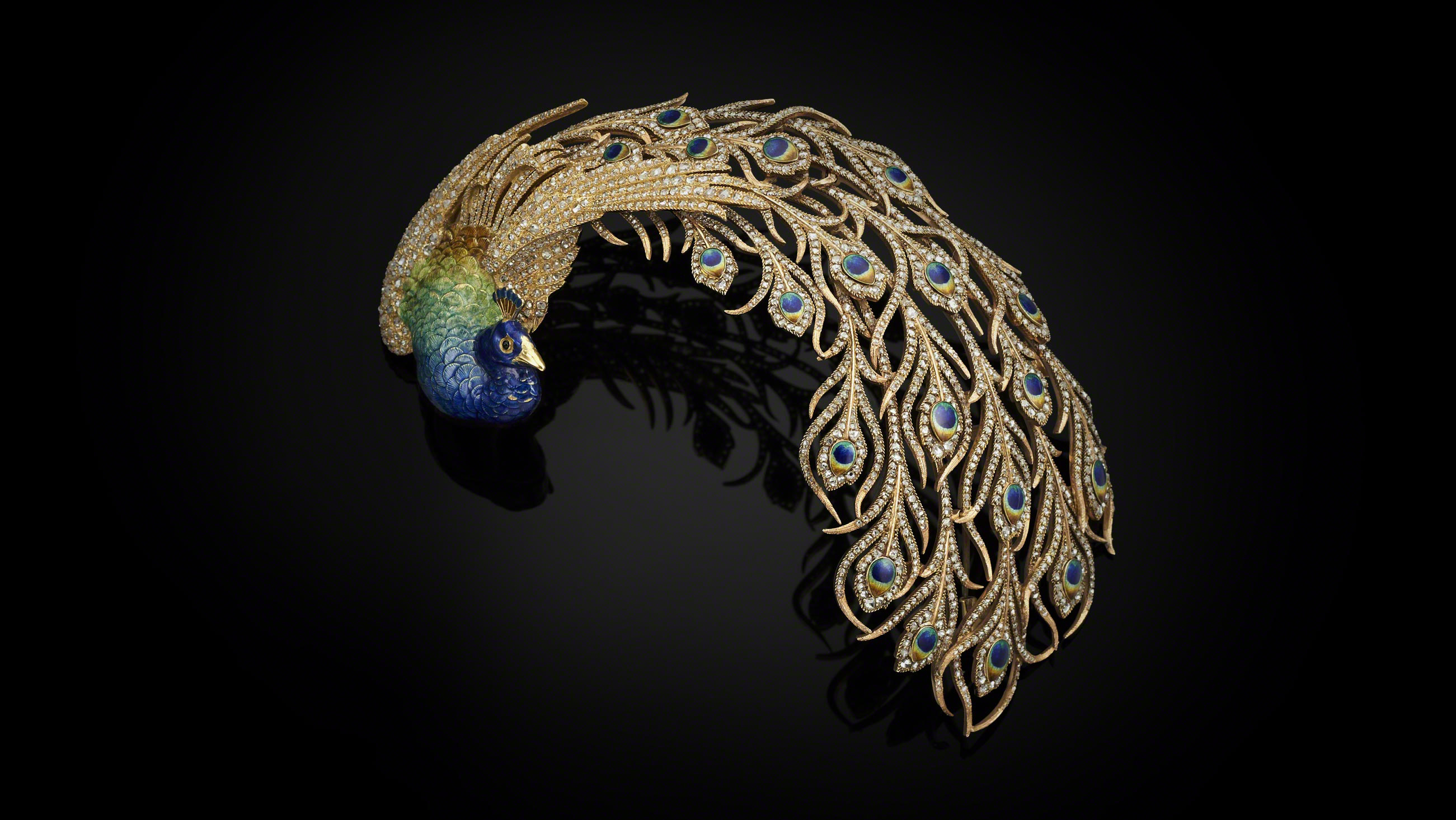 An aigrette in the form of a peacock, bought in 1905 by Maharaja Jagatjit Singh of Kapurthala from Paris-based jeweller Mellerio dits Meller.