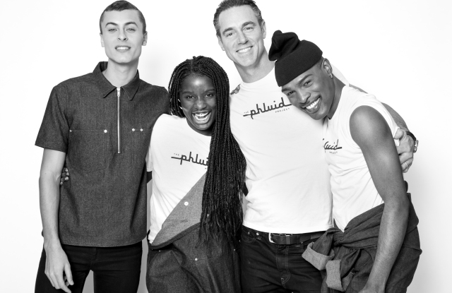Models wearing The Phluid Project styles, with founder Rob Smith, second from right.