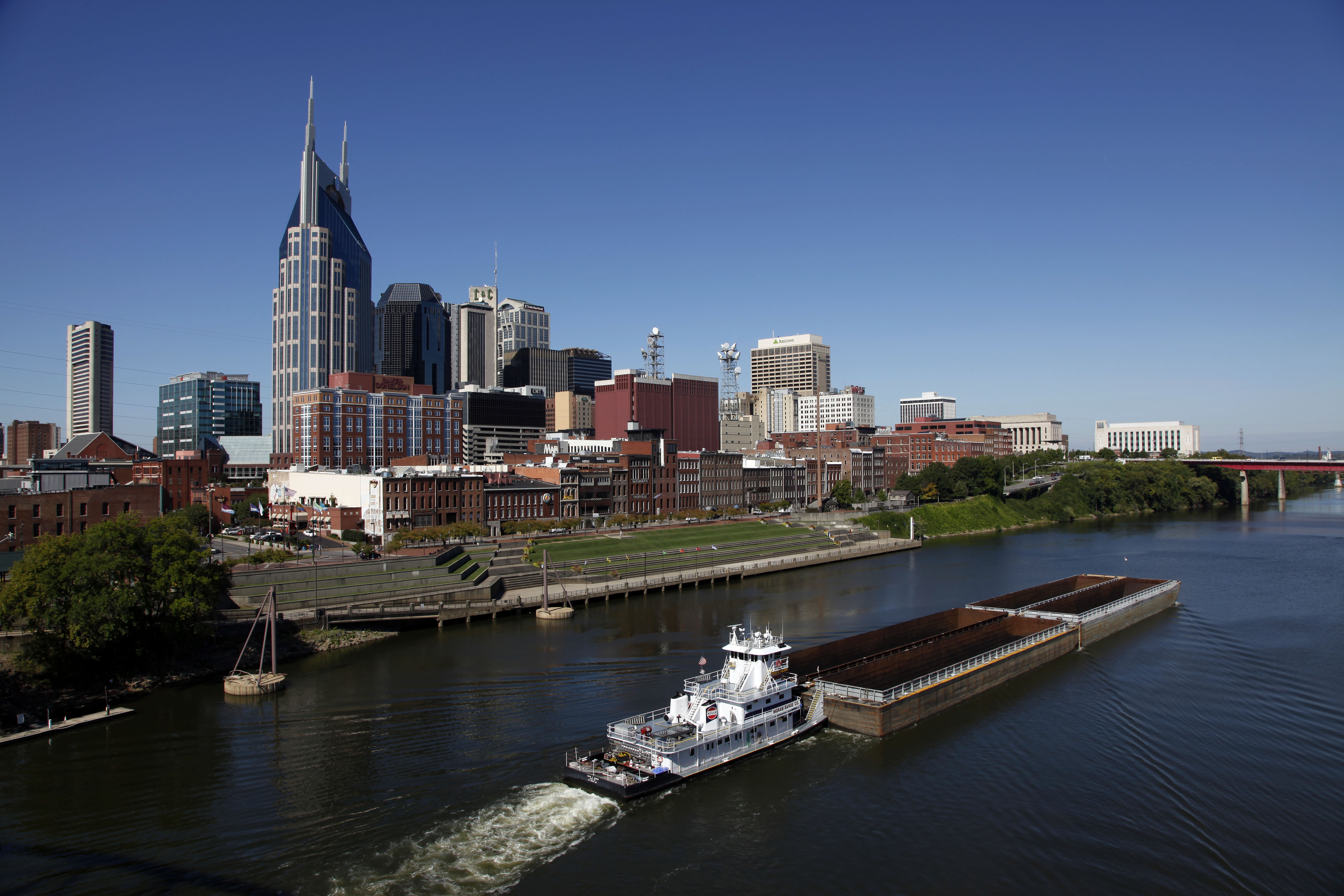 The Cumberland River and downtown Nashville, Tenn. The banks of the river and the bridges over it offer viewpoints for the skyline that inspired Bob Dylan to write a country albumTravel Trip 5 Free Things Nashville, Nashville, USA