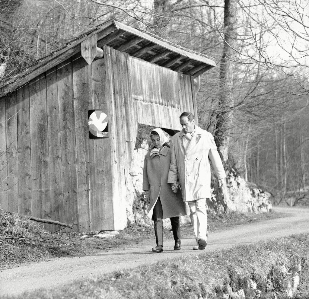 Audrey Hepburn, Mel Ferrer Movie actor Audrey Hepburn and her husband, actor Mel Ferrer are shown in Burgenstock, Switzerland for a vacationAudrey Hepburn, Switzerland