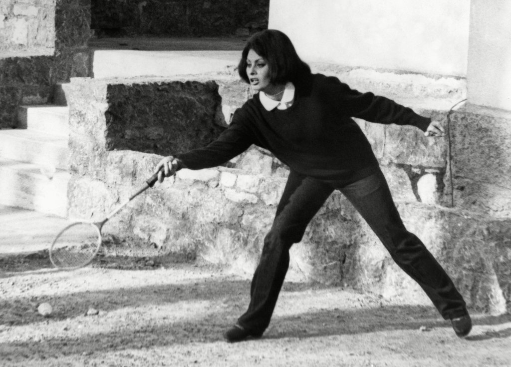 Sophia Loren Italian actress Sophia Loren, taking time out from her movie commitments, lunges and misses during a lively game of shuttlecock. She was picture during an Easter holiday at Vierwaldstatter see, SwitzerlandItalian actress Sophia Loren, Switzerland