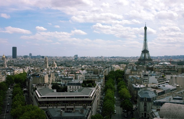 This Image not to be used by any Greeting Card Publishers.Mandatory Credit: Photo by John Curtis/REX/Shutterstock (802572cl)Skyline view of Paris, showing the Eiffel Tower, taken from the Arc De Triomphe, Paris, France.Paris, France - Aug 2008