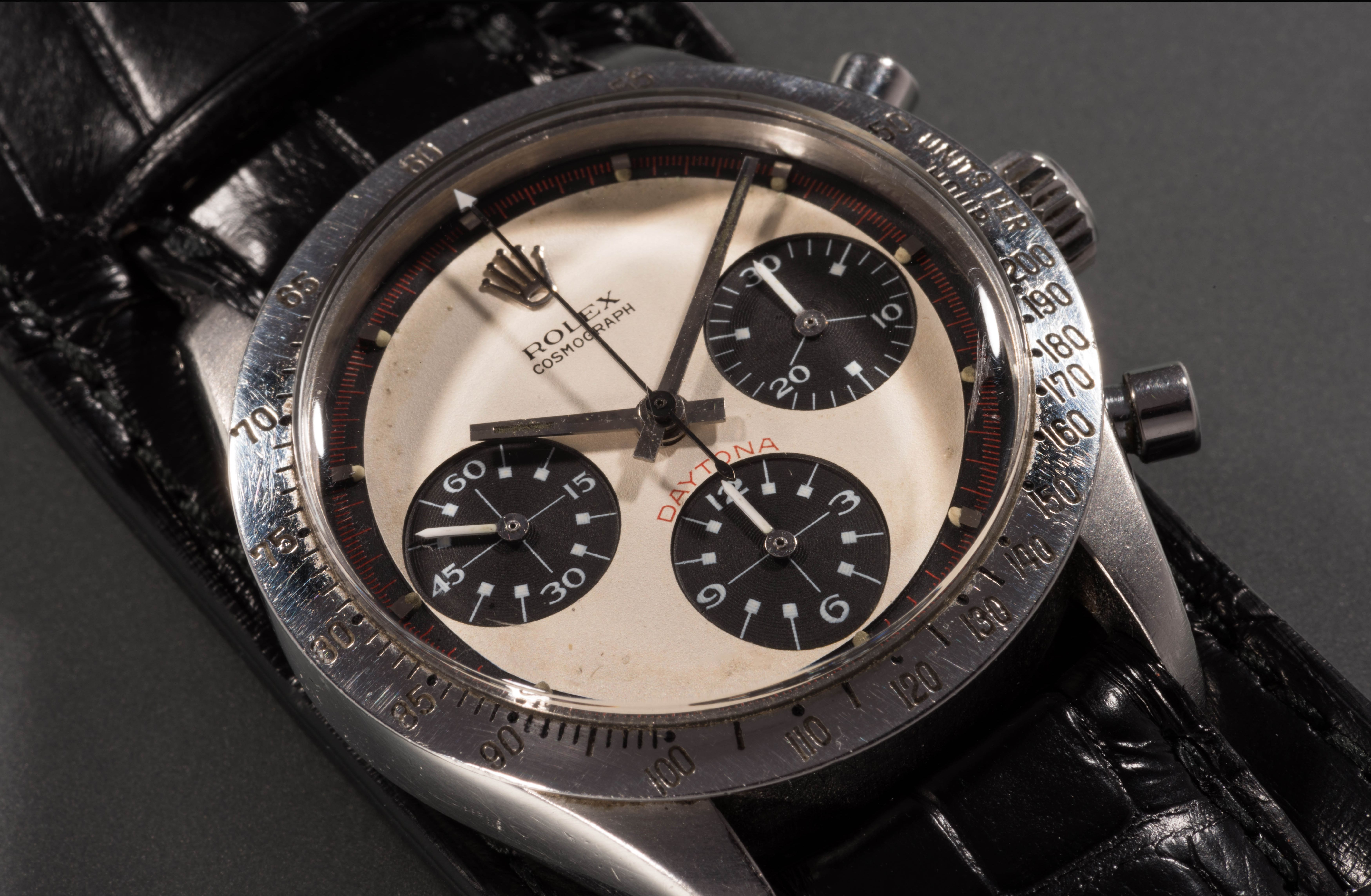 Rolex Cosmograph Daytona watchPaul Newman Rolex watch sells for world record price, New York, USA - 26 Oct 2017A rare Rolex watch owned by the late movie star Paul Newman today sold for a world record £13.5m. The legendary actor received the Rolex Cosmograph Daytona as a present from his wife Joanne Woodward in 1968. She bought the timepiece from the prestigious Tiffany & Co store in New York and had it engraved with the message 'drive carefully' in light of her husband's fledgling motor racing career. Newman wore it daily for more than 15 years before passing it on to his daughter's then boyfriend, James Cox, while he stayed with the family one summer in the early 1980s. It sold at Phillips Auctions of New York.