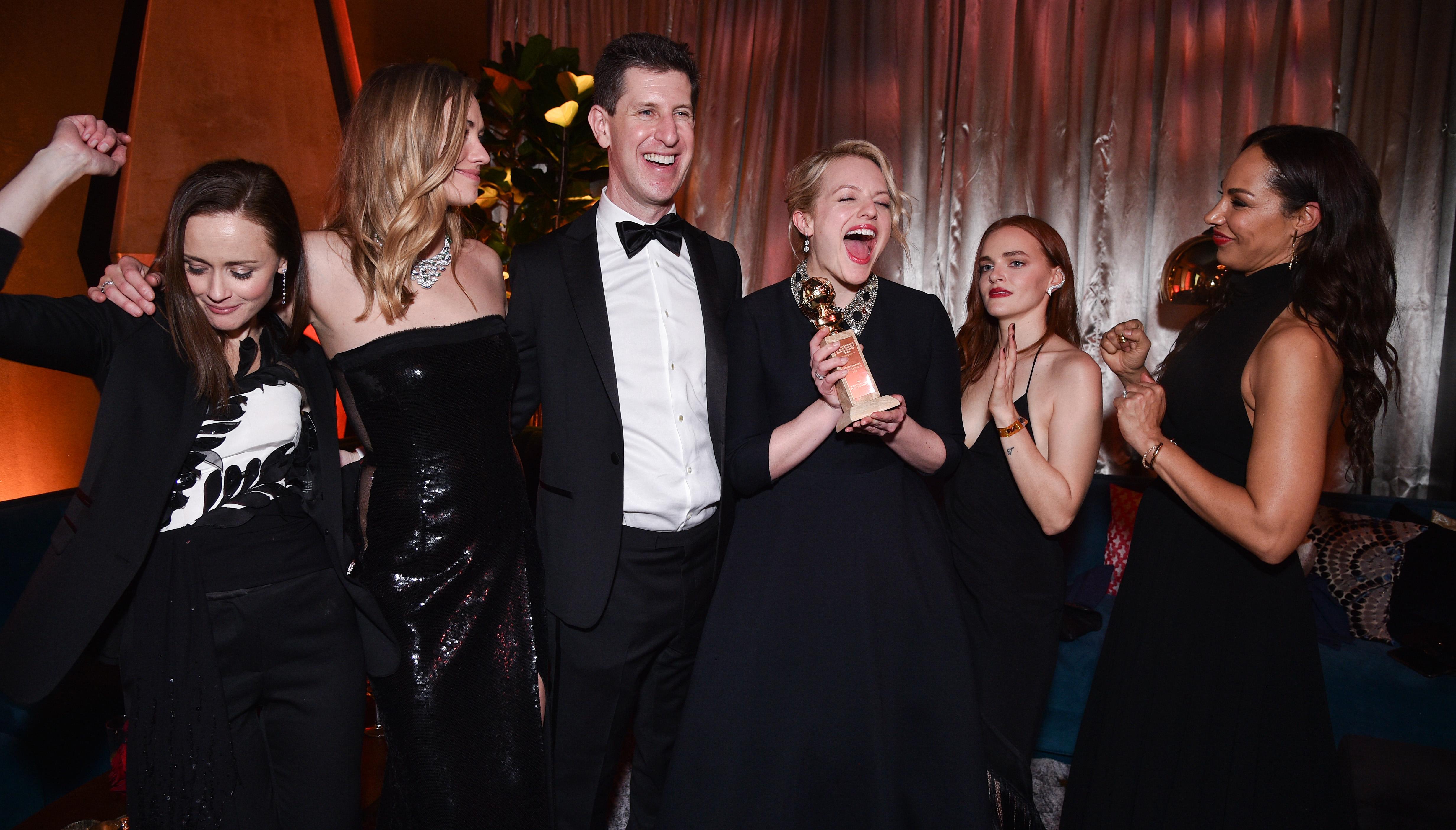 Alexis Bledel, Yvonne Strahovski, Craig Erwich, Elisabeth Moss, Madeline Brewer and Amanda BrugerFOX Golden Globes After Party, Inside, Los Angeles, USA - 07 Jan 2018
