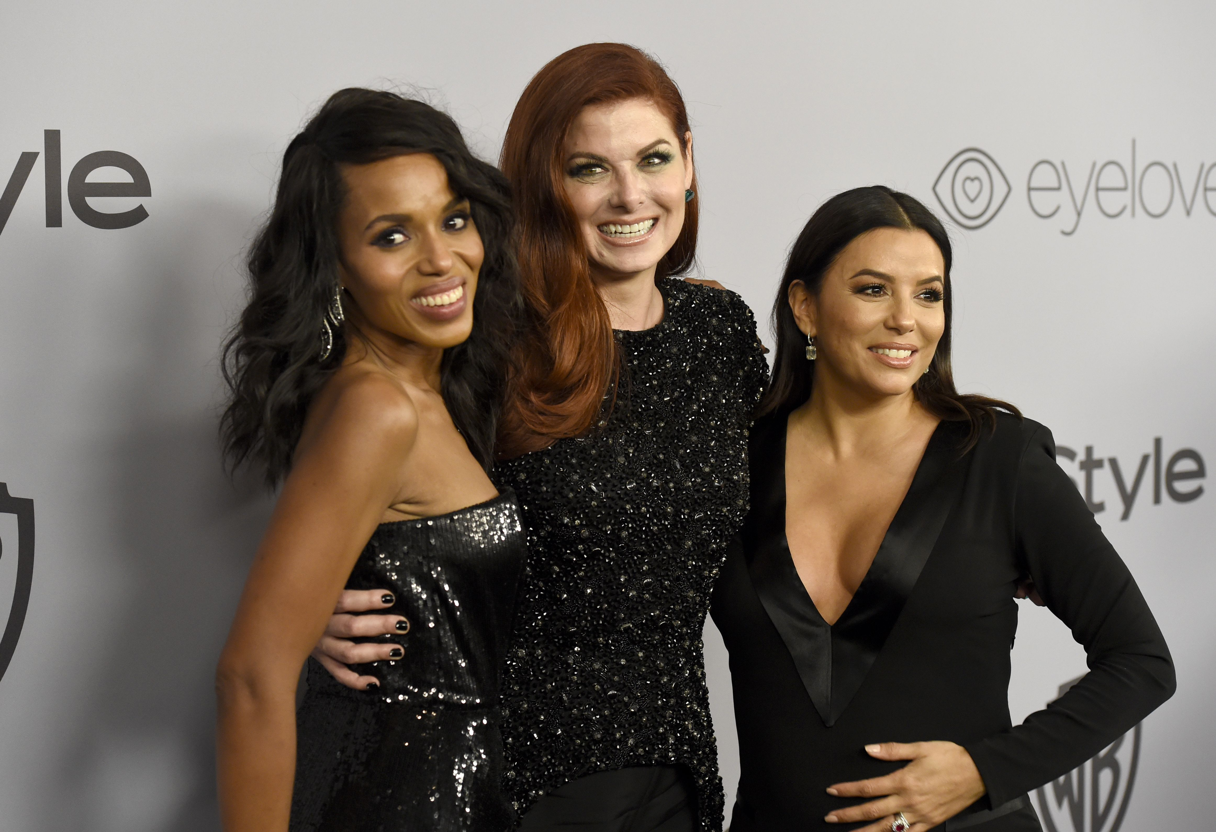 Kerry Washington, Debra Messing, Eva Longoria. Kerry Washington, from left, Debra Messing, and Eva Longoria arrive at the InStyle and Warner Bros. Golden Globes afterparty at the Beverly Hilton Hotel, in Beverly Hills, Calif75th Annual Golden Globe Awards - InStyle and Warner Bros. Afterparty, Beverly Hills, USA - 07 Jan 2018