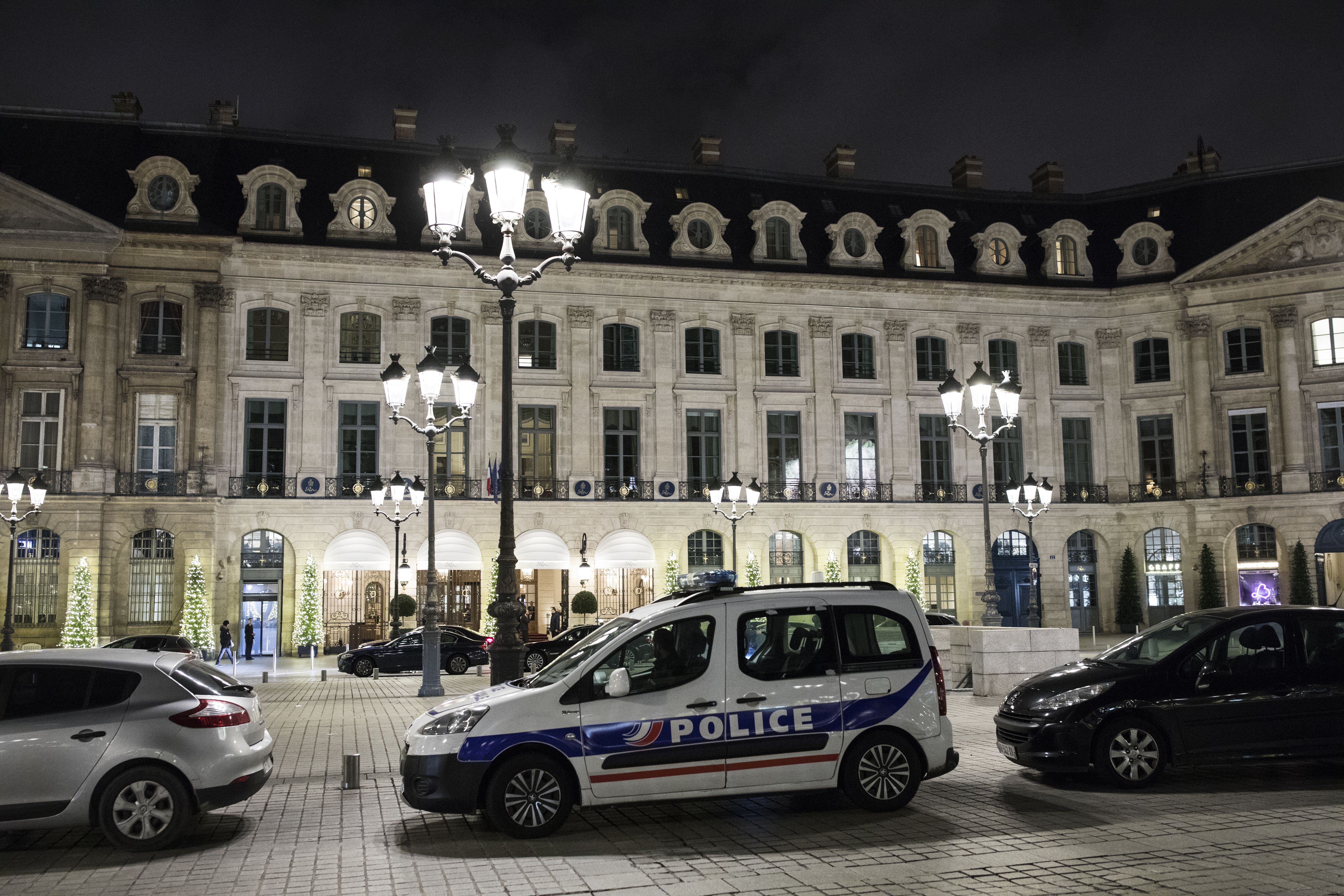 A police car is parked in front of the main entrance of the ritz where a burglary happened in Paris, France, 10 January 2018. According to latest reports, several millions in jewelry were stolen by a group of five individuals among which three were arrested and 2 fled on a scooter.Ritz Carlton hotel in Paris robbed, France - 10 Jan 2018