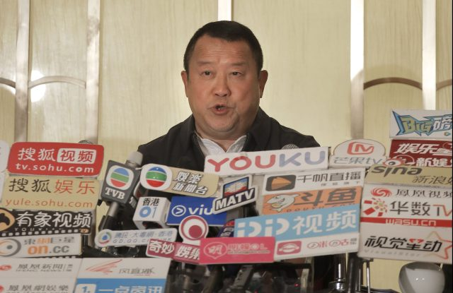 Hong Kong actor Eric Tsang speaks during a press conference to deny allegations of sexual harrassment.