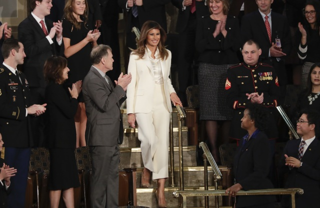 First lady Melania Trump arrives before the State of the Union address to a joint session of Congress on Capitol Hill in WashingtonState Of Union, Washington, USA - 30 Jan 2018