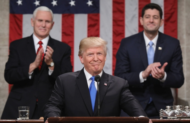 U.S. President Donald J. Trump arrives for the State of the Union address in the chamber of the U.S. House of Representatives in Washington, DC.State of The Union address, Washington DC, USA - 30 Jan 2018This is the first State of the Union address given by U.S. President Donald Trump and his second joint-session address to Congress.