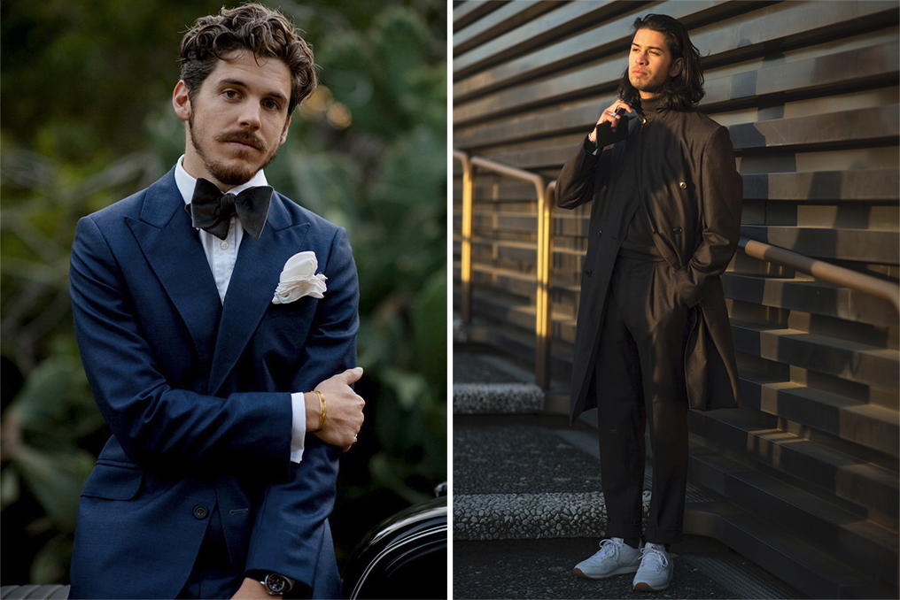 Left: Robert Spangle of @thousandyardstyle, Right: A street style look by Robert Spangle.