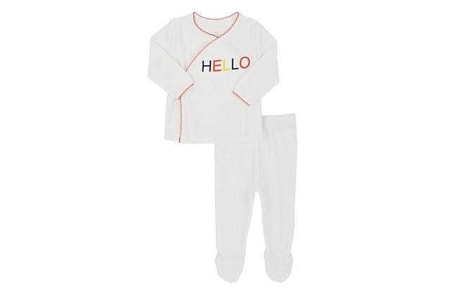 """Lisa Perry """"Hello""""print cotton kimono top and footed pants."""