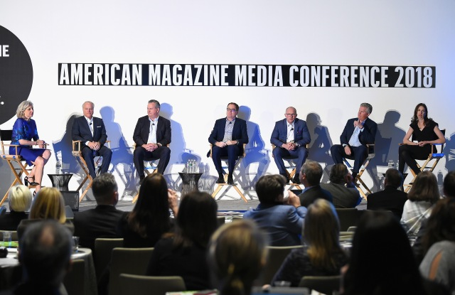 NEW YORK, NY - FEBRUARY 06:  Linda Thomas Brooks, Robert A. Sauerberg Jr., Tom Harty, David Carey, Eric Zinczenko, Andrew W. Clurman and Pam Wasserstein speak on stage at the American Magazine Media Conference 2018 on February 6, 2018 in New York City.  (Photo by Ben Gabbe/Getty Images for The Association of Magazine Media)