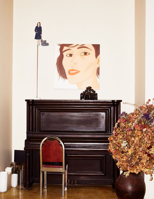 A cutout and painting by Katz in his studio-residence.