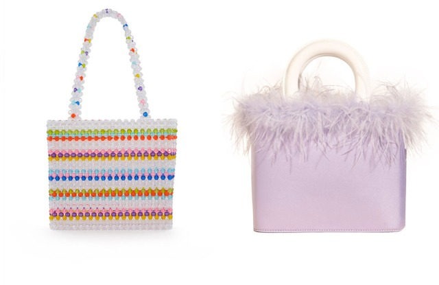 Fashion-forward bags by Susan Alexandra (left) and Staud (right), both priced at under $350.