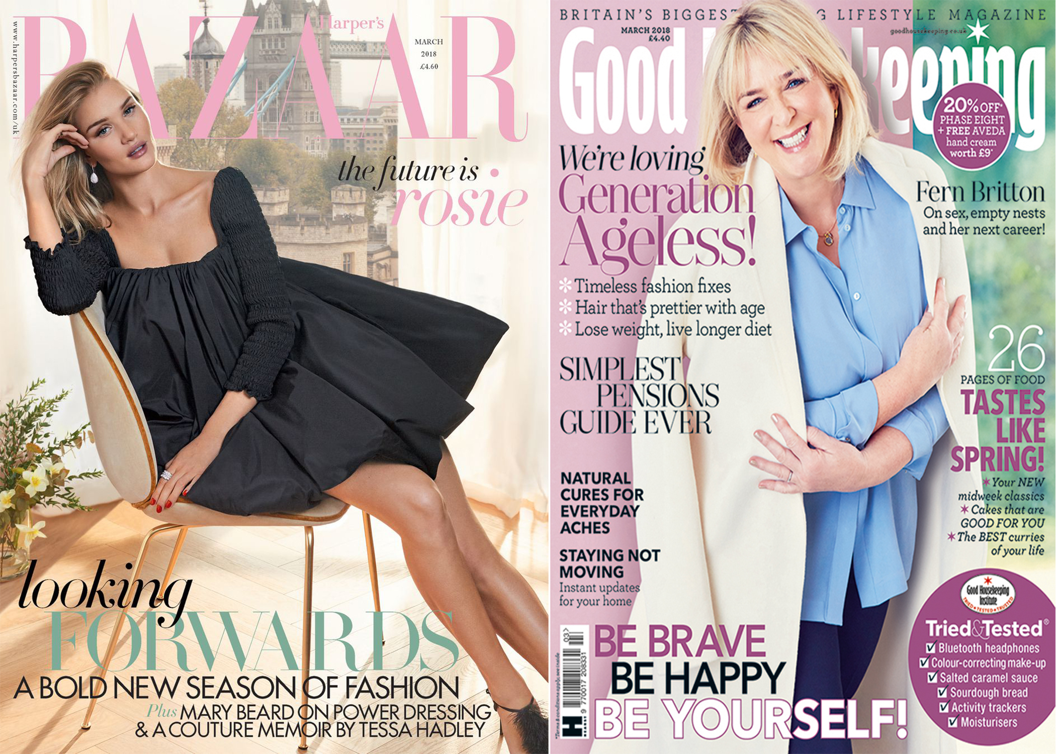 The covers of Harper's Bazaar UK and Good Housekeeping UK