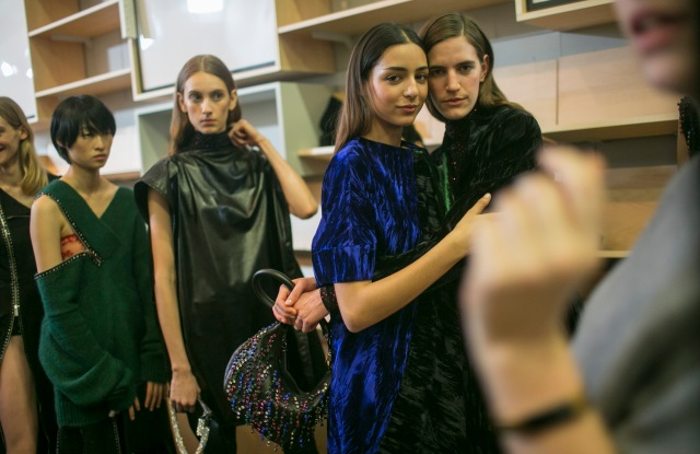 Backstage at Christopher Kane RTW Fall 2018