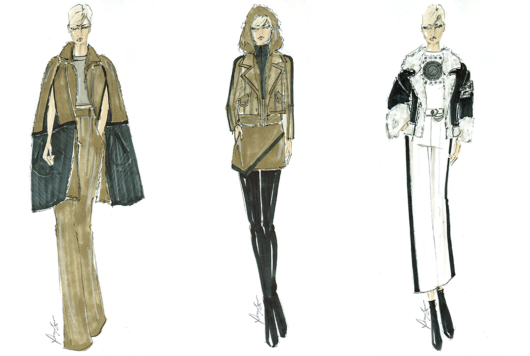 Sketches from Dennis Basso's fall 2018 ready-to-wear collection