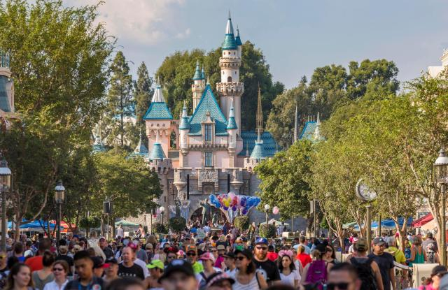 Sleeping Beauty Castle, front crowd, Disneyland Park, Disneyland Resort, Anaheim, California, USAVARIOUS