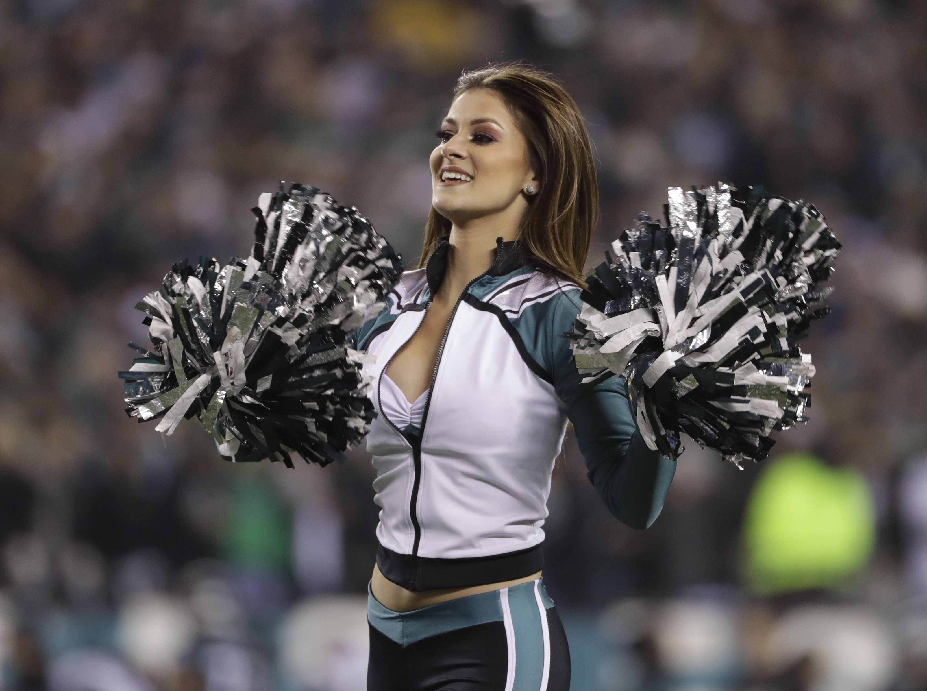 A cheerleader performs during the second half of the NFL football NFC championship game between the Philadelphia Eagles and the Minnesota Vikings, in PhiladelphiaVikings Eagles Football, Philadelphia, USA - 21 Jan 2018