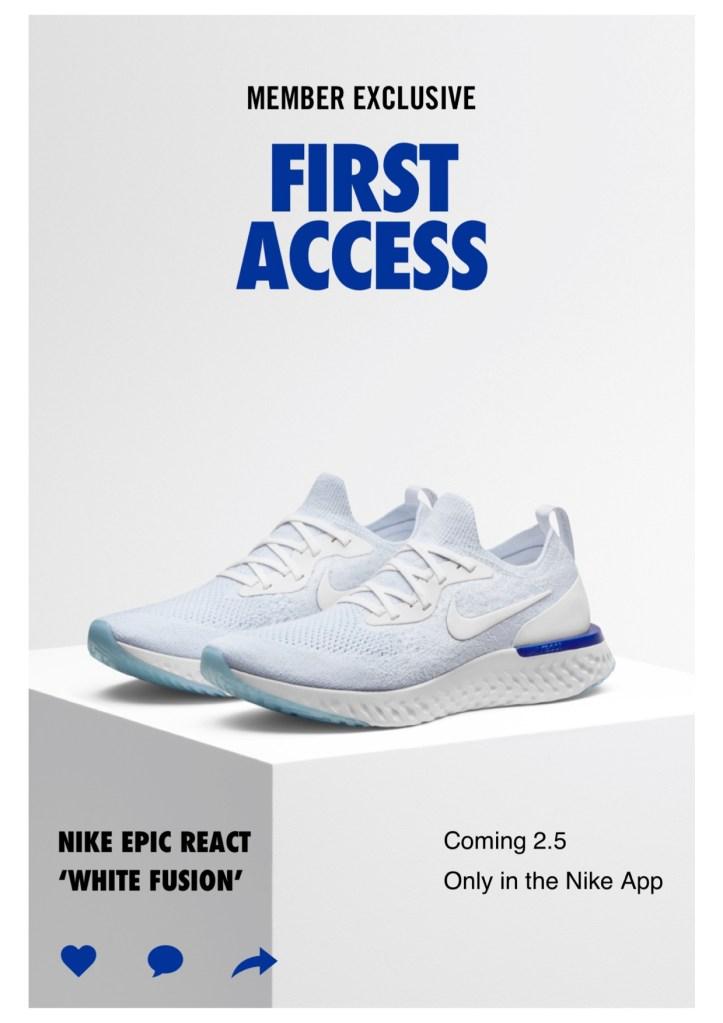 Nike NikePlus Exclusive Shop, featuring EpicReact in White Fusion