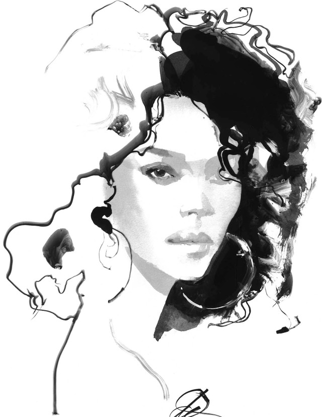 "Michael Kors Collection ""Lola"" illustration by David Downton."