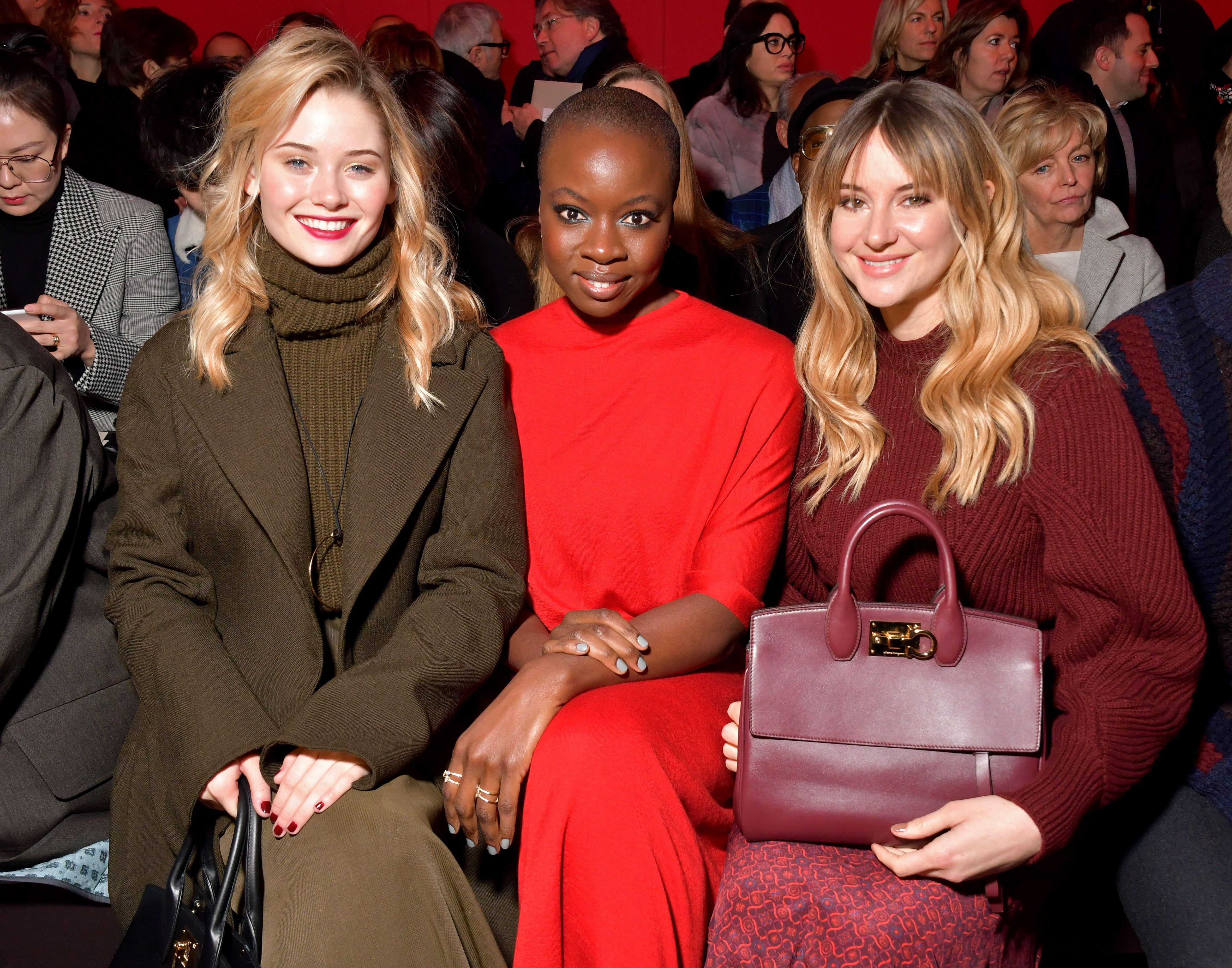 Virginia Gardner, Danai Gurira and Shailene WoodleySalvatore Ferragamo show, Front Row, Fall Winter 2018, Milan Fashion Week, Italy - 24 Feb 2018