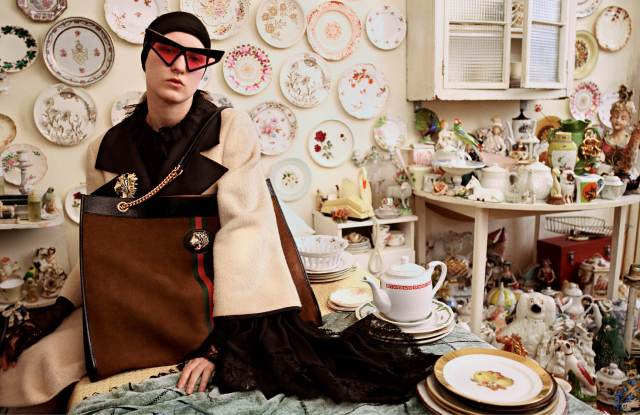 The world of obsessive collectors of art and vintage objects is at the core of GucciÕs latest advertising campaign.For fall, the fashion house and its creative director Alessandro MicheleÕs fascination for eccentric personalities focuses on characters passionately seeking out paintings, antiques, porcelains and rare objects, each portrayed in different rooms.Dubbed Gucci Collectors and photographed by Glen Luchford with the art direction of Christopher Simmonds, the campaign include color images of models sporting the brandÕs ready-to-wear surrounded by stuffed animals, pottery and cuckoo clocks as well as close-ups of key accessories Ñ comprising Gucci slippers and loafers Ñ captured among small toy cars and puzzle pieces.The images will break in international titles starting from July 2, along with the debut of a series of short videos flanking the campaign on GucciÕs social media accounts. Ñ Sandra Salibian