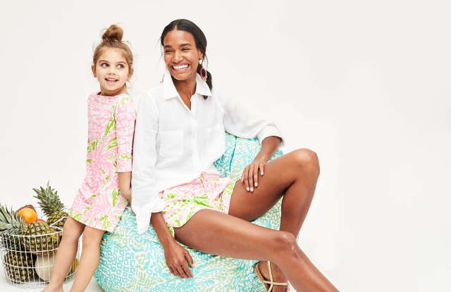"""A beanbag from the Lilly Pulitzer for Pbteen collection, featuring a Lilly Pulitzer print """"Home Slice,"""" designed specifically for the collaboration."""