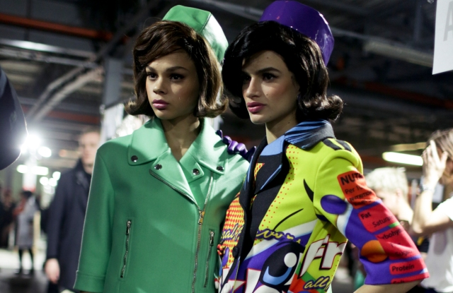 Backstage at Moschino RTW Fall 2018