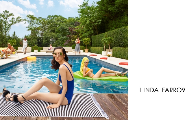 Afef Jnifen standing by the edge of a pool in Linda Farrow's new campaign.