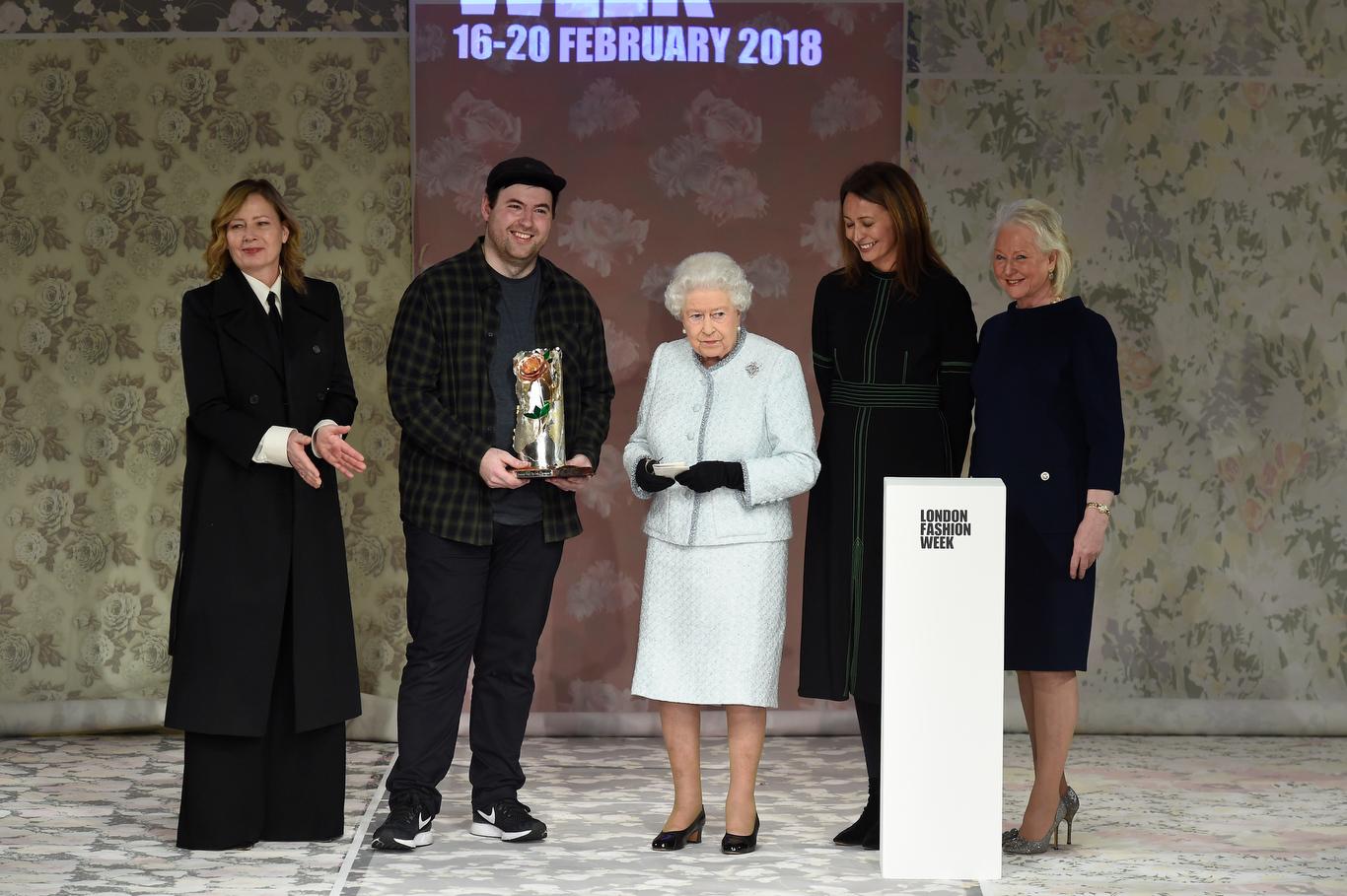 Sarah Mower, Richard Quinn, Queen Elizabeth and Caroline Rush