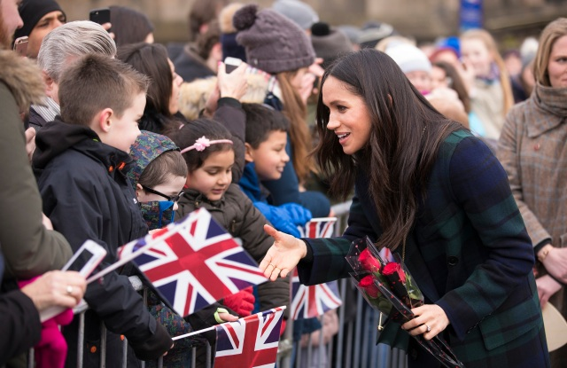 Meghan Markle visits Edinburgh Castle in Scotland.Prince Harry and Meghan Markle visit to Edinburgh, Scotland - 13 Feb 2018The couple also visited the Social Bite sandwich shop, the profits from which are used to help the homeless.