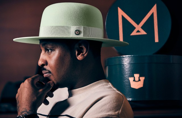 "A look from Carmelo Anthony and Goorin Bros. Collaboration ""Fresh Greens""."