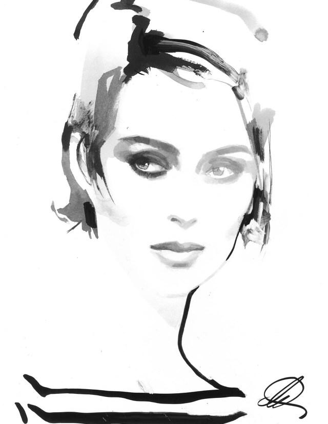 "Michael Kors Collection ""Sabine"" illustration by David Downton"