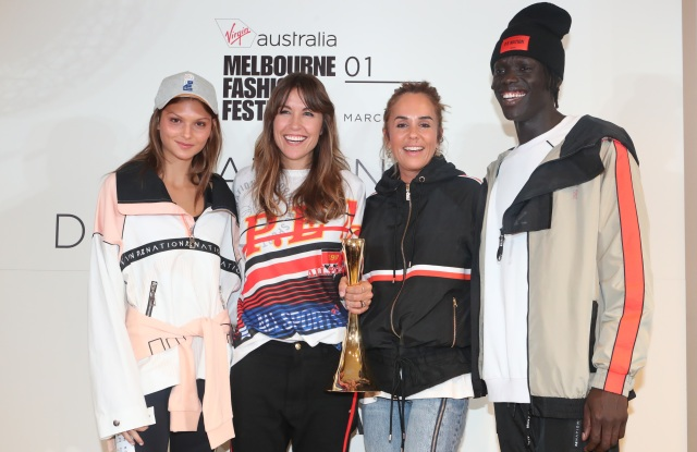 Centre L to R: National Designer Award 2018 winners Claire Tregoning and Pip Edwards, flanked by models in looks from the Autumn/Winter 2018 collection of their P. E. Nation label.