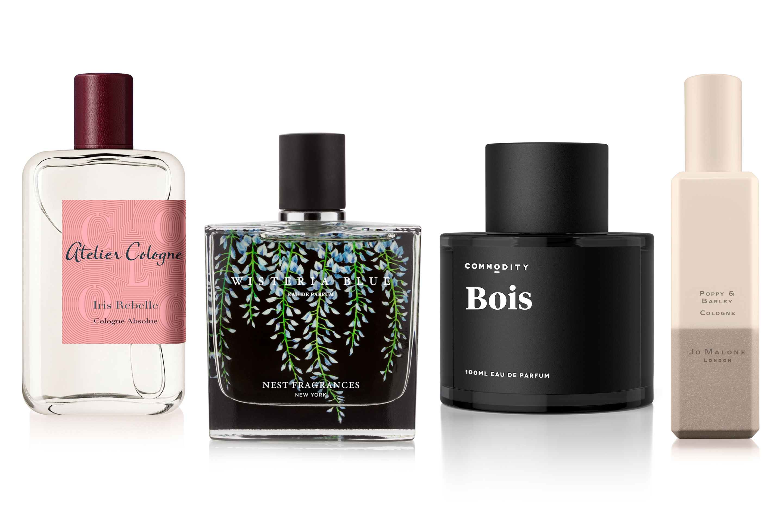 Atelier Cologne Iris Rebelle, Nest Fragrances Wisteria Blue, Commodity Bois and Jo Malone London  Poppy & Barley.