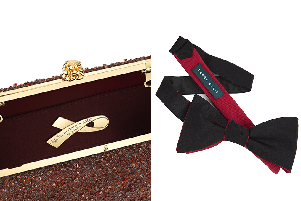 Tyler Ellis clutch and Perry Ellis bowtie created specially for the Elton John AIDS Foundation Oscar party.
