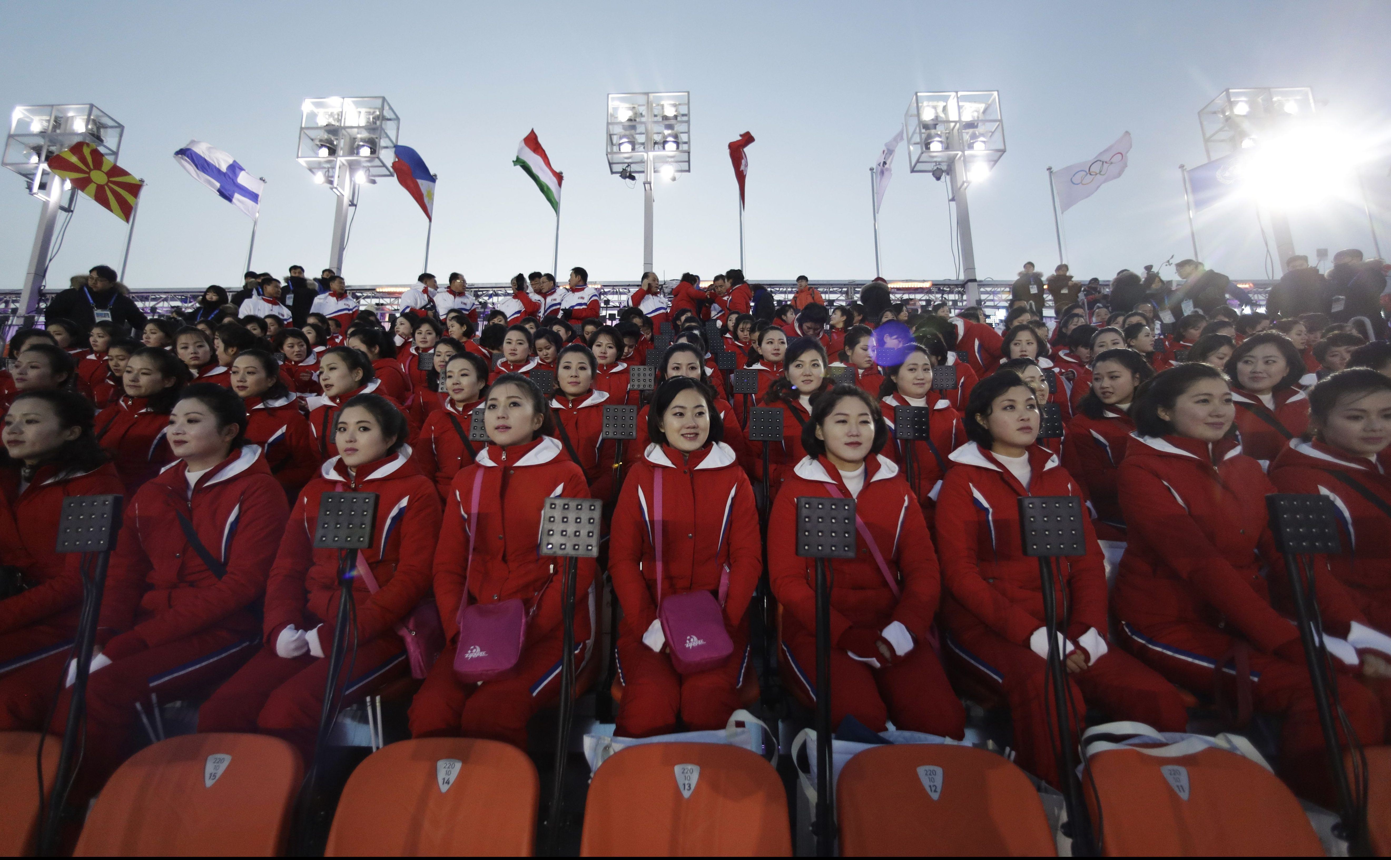 Members of the North Korean delegation at the opening ceremony.