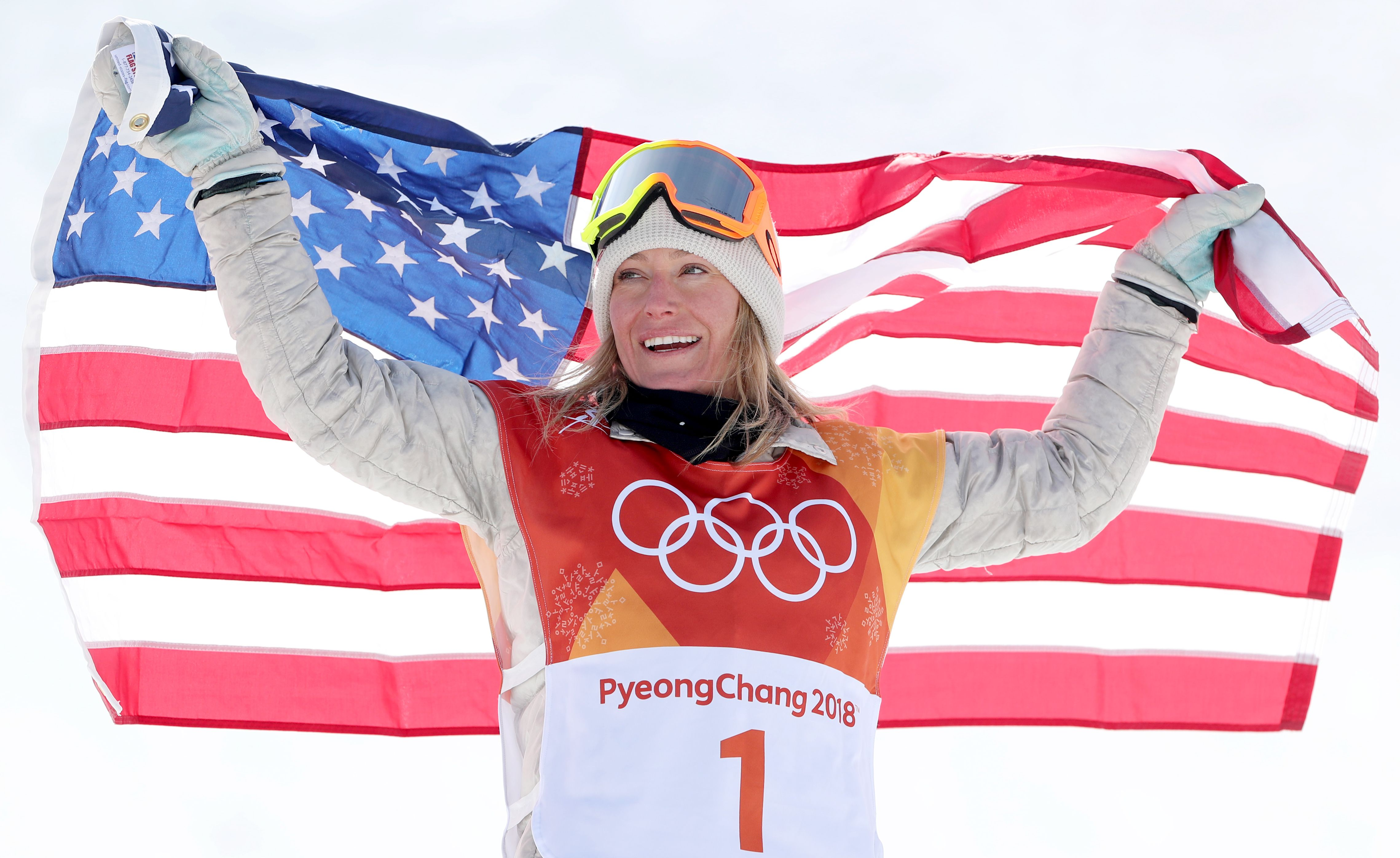 Jamie AndersonSnowboard - PyeongChang 2018 Olympic Games, Bongpyeong-Myeon, Korea - 12 Feb 2018Gold medal winner Jamie Anderson of the USA celebrates her win on the podium with the US flag after the Women's Snowboard Slopestyle Final Run at the Bokwang Phoenix Park during the PyeongChang 2018 Olympic Games, South Korea, 12 February 2018.