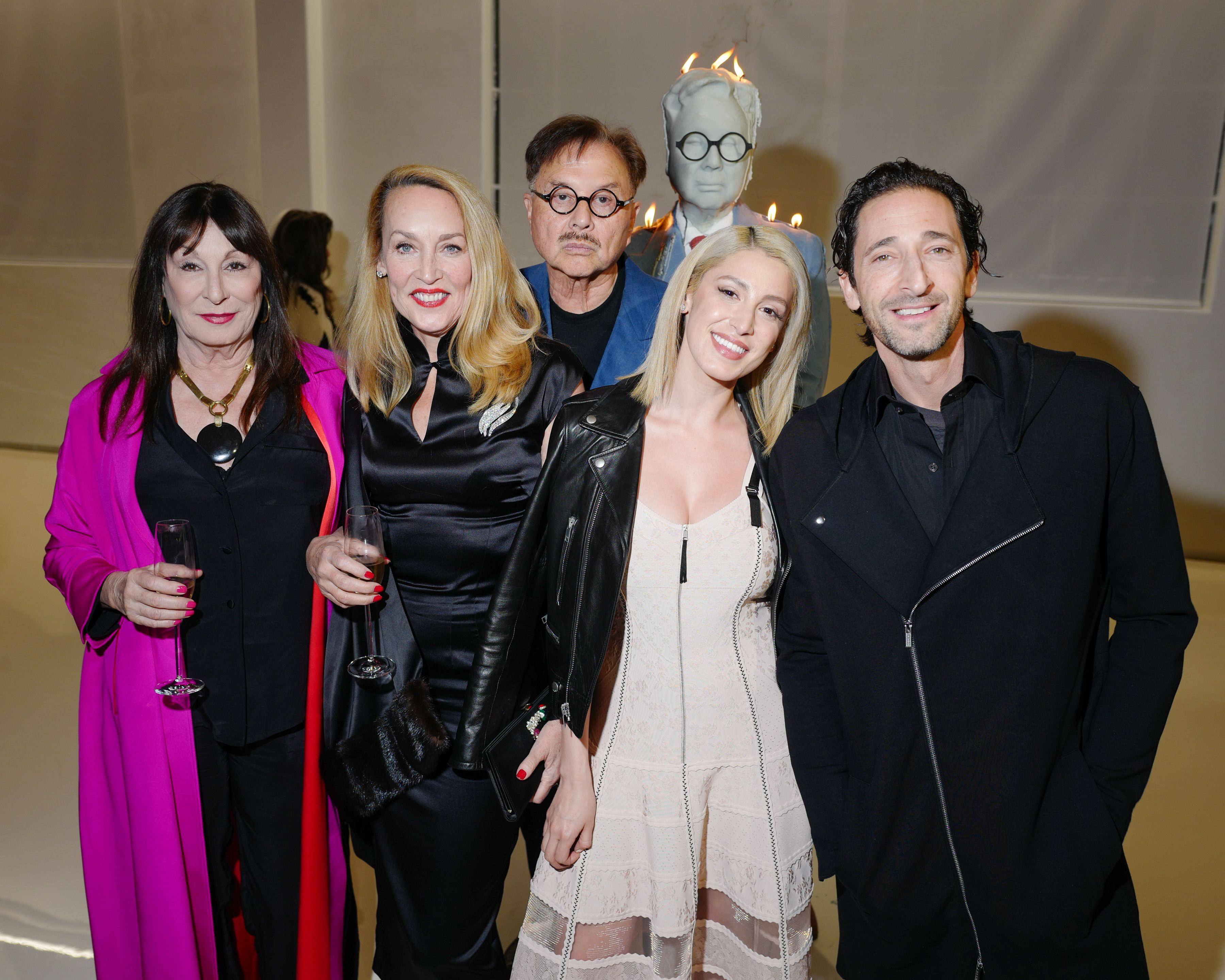 Anjelica Huston, Jerry Hall, Michael Chow, Vanessa Rano, Adrien BrodyMr Chow 50th Anniversary celebration, Inside, Los Angeles, USA - 16 Feb 2018