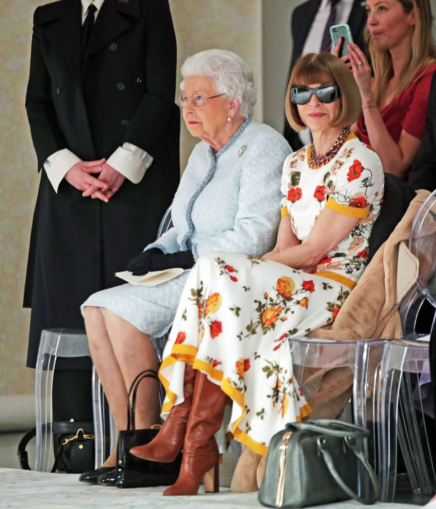 Queen Elizabeth II and Anna Wintour at the Richard Quinn show