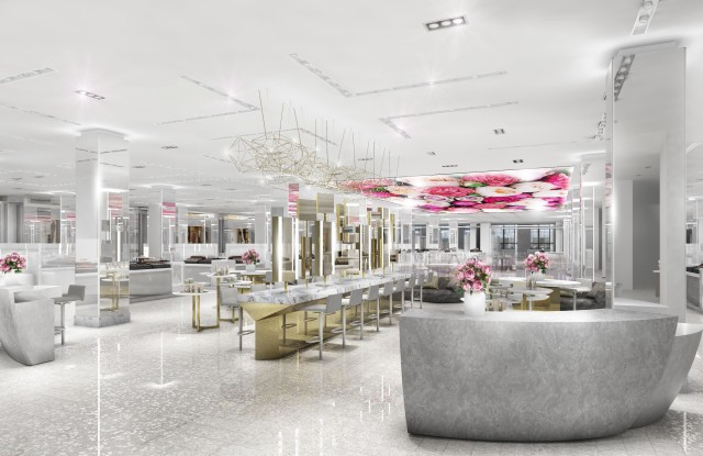 A rendering of Saks Fifth Avenue's new second-floor beauty department.