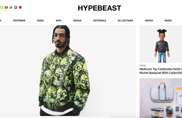 The Hypebeast homepage.